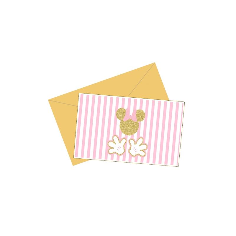 Tarjetas De Invitacion Minnie Gold Adquierelo En Globos Yuli