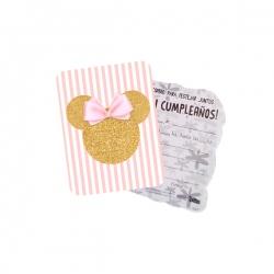 10 Tarjetas De Minnie Mouse Gold